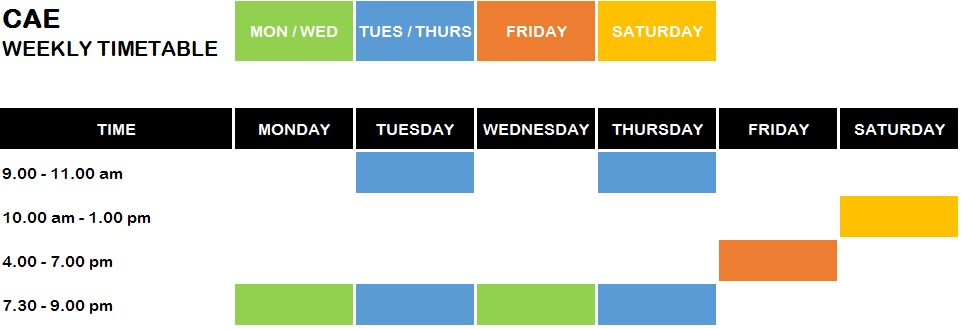 CAE TIMETABLE FOR WEBSITE